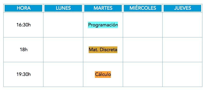 Matemáticas UIB horarios